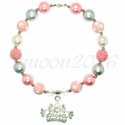 Pink Crown pendant Chunky Beads Bubblegum Necklace for Kids Chunky Gumball Gifts