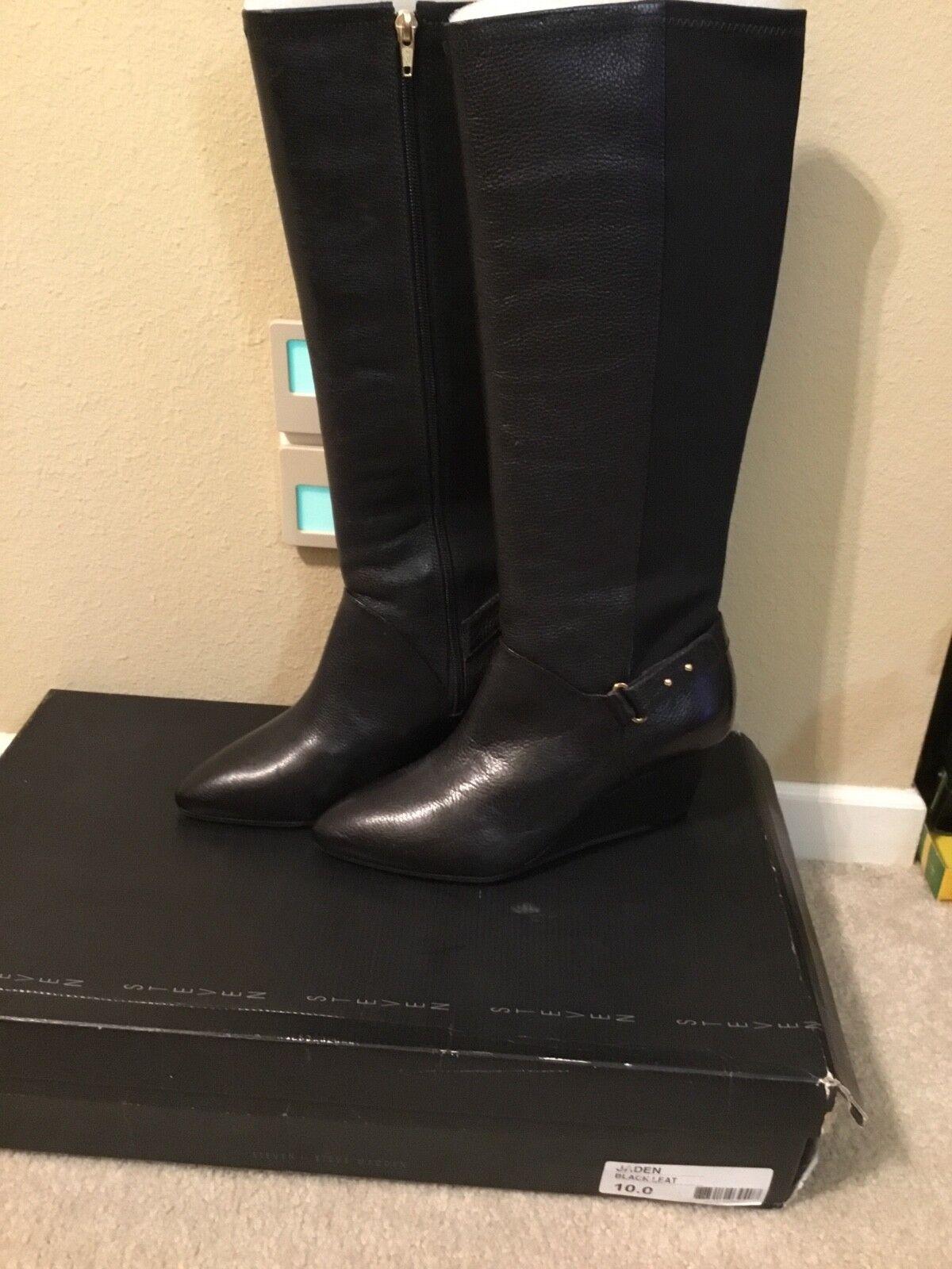 STEVEN By Steve Madden Femmes Jaden en cuir noir compensé bottes hautes 10 M neuf avec boite