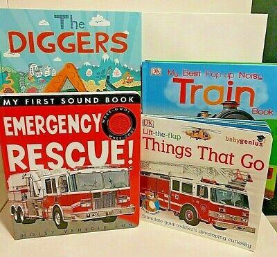 BOYS Board Pop-Up Sound Books~TRAIN~DIGGERS~EMERGENCY ...