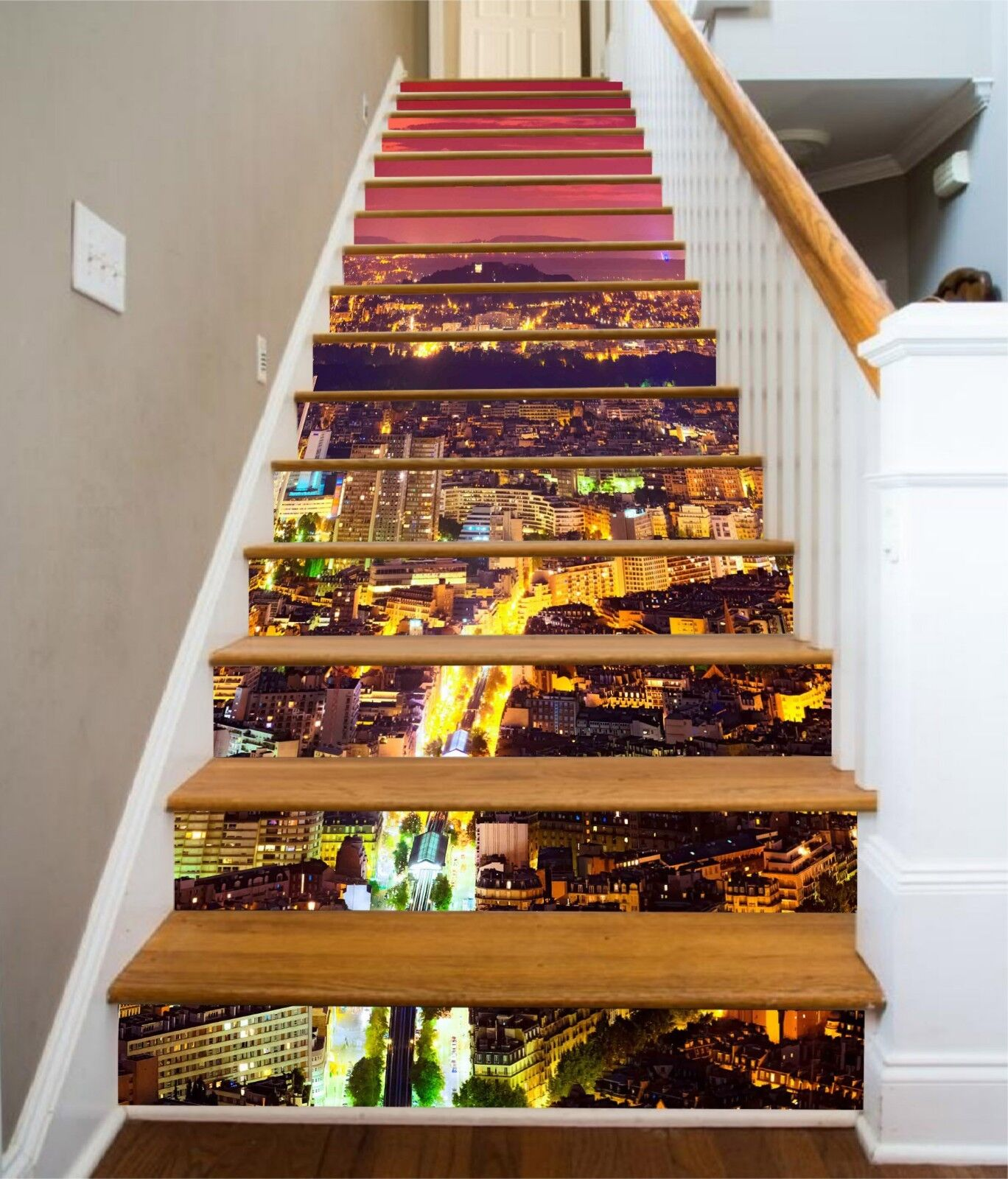 3D Helle Stadt 1360 Stair Risers Dekoration Fototapete Vinyl Aufkleber Tapete DE