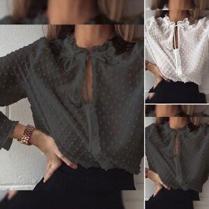 Mode-Femme-Chemise-Pois-Manche-Longue-Col-Volants-Loisir-Ample-Haut-Shirt-Plus