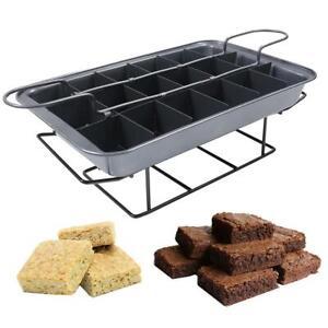 Cake-Tray-Tin-Dish-Slicer-Cutter-Baking-Brownie-Individual-Slices-Cooling-Rack