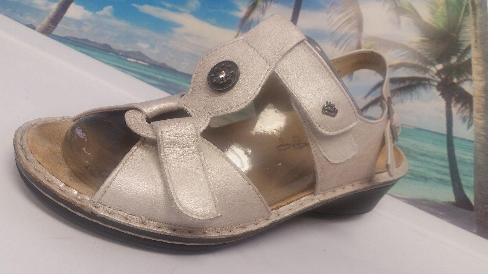 Finn Comfort Zapatos Sandalia De Mujer blancoo Metálico Cuero Cuero Metálico 6 D 725b17