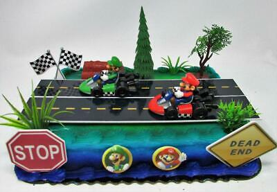 Superb Go Kart Racing Mario Kart 12 Piece Birthday Cake Topper Set Personalised Birthday Cards Sponlily Jamesorg