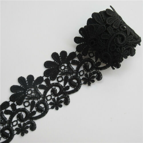 3 yd Flower Embroidered Lace Edge Trim Ribbon Wedding Applique DIY Sewing Craft