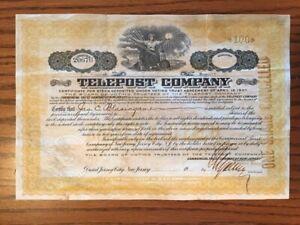 Antique Stock Certificate 1884 Paterson District Telegraph
