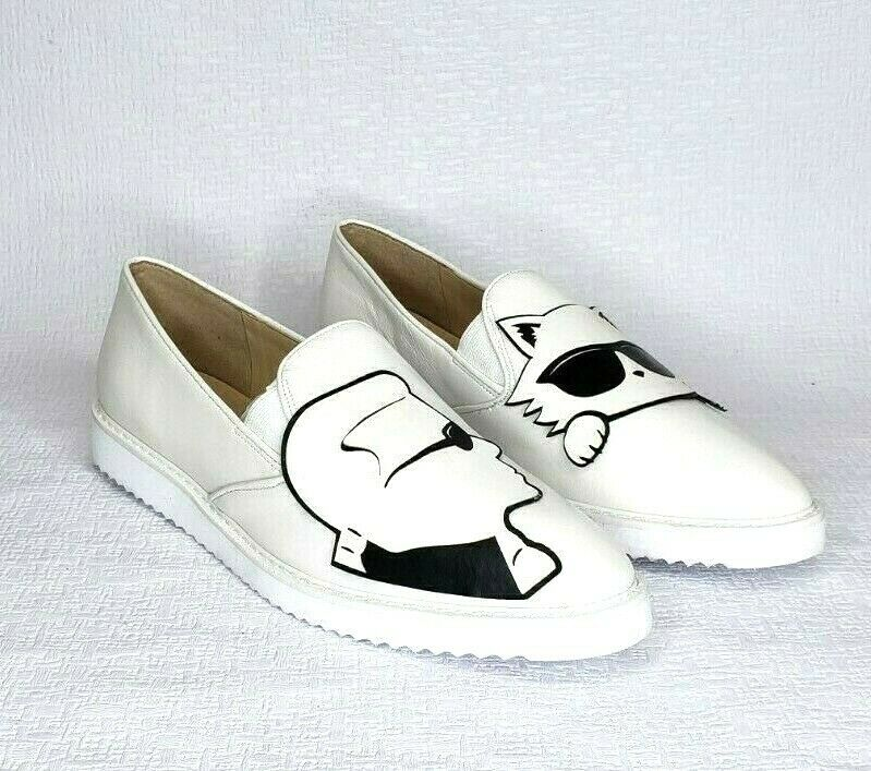 NEW RARE UNIQUE KARL LAGERFELD White  Leather Slip On Loafer shoes Size 9