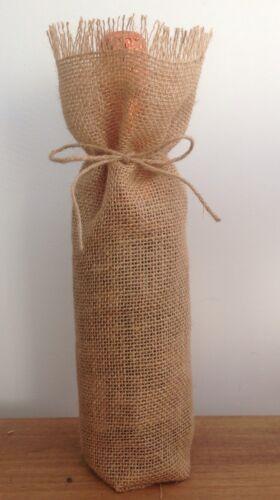 Burlap Wine Bags Wedding Party Shabby Chic Vintage Handmade x 10 Hessian
