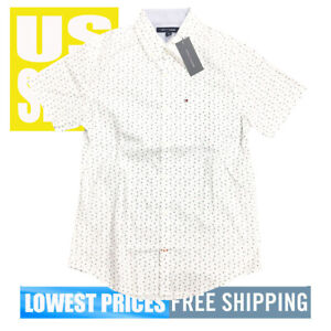Tommy-Hilfiger-Men-039-s-NWT-Micro-Stars-on-White-Button-Down-SH-Sleeve-Shirt-LARGE