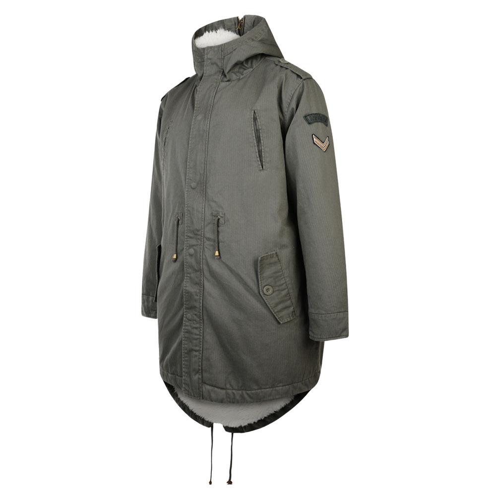 Lambretta Parka Fishtail Sherpa Lined Parka Sleeve Badges Khaki Grün L XL 2XL