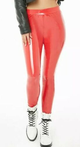 Fire Engine Red Faux Patent Leather Vinyl Skinny P
