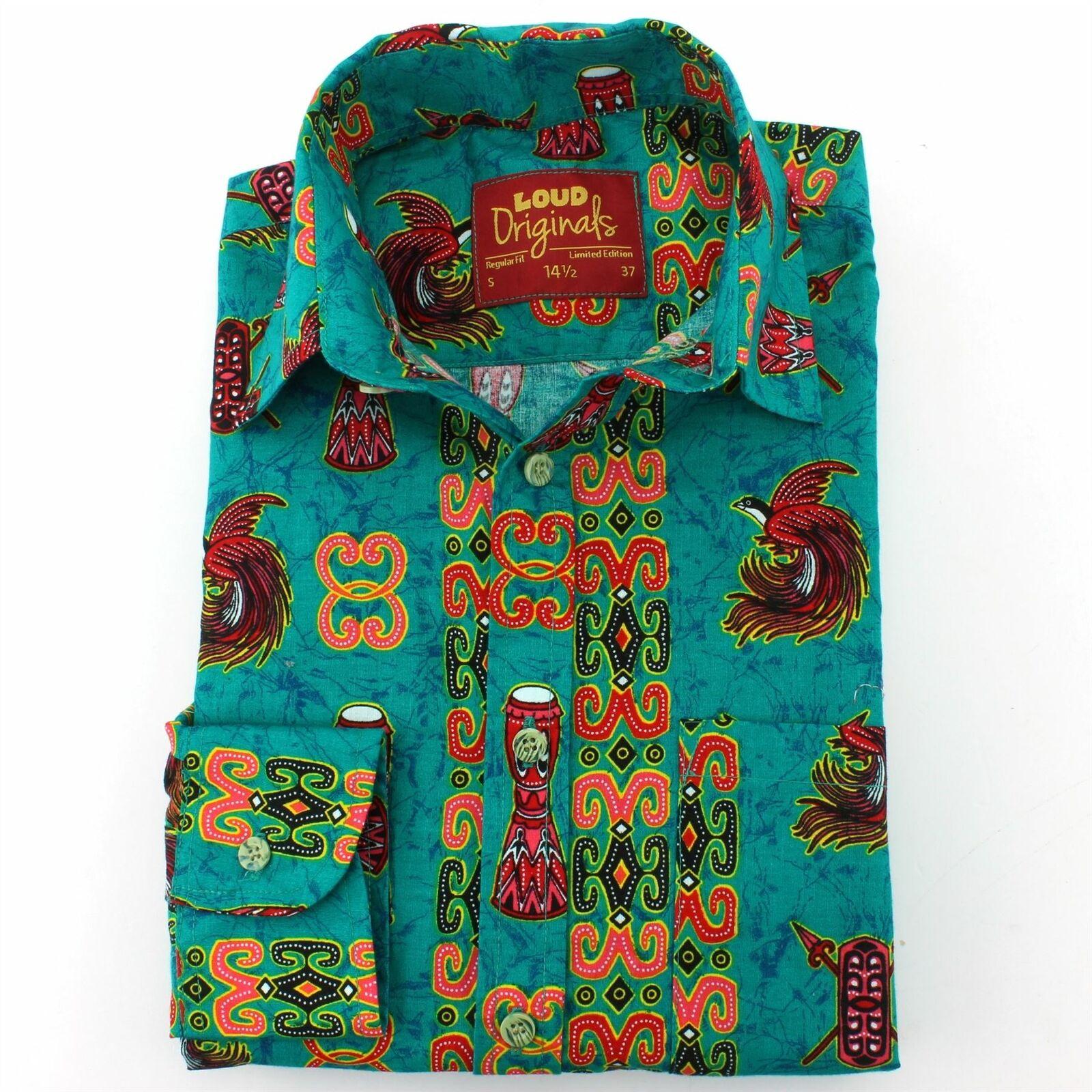 Camicia da uomo forte forte forte ORIGINALI REGULAR FIT DRUM verde Retro Psichedelico Costume cb8249