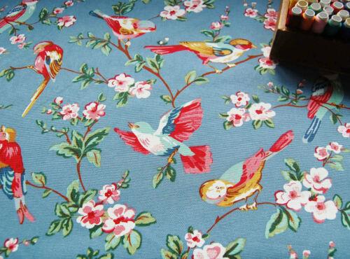 FURNISHING Craft Heavy Cotton Fabric BLUE FINCH BIRD BLOSSOM by HALF METRE #66