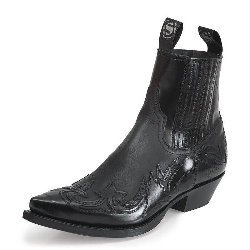 Sendra 4660 Stivali da cowboy nero lucido in pelle Western Biker fatto a mano