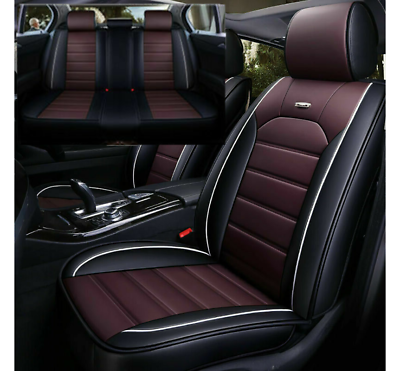 Black/&Coffee Car Seat Covers Universal Fit PU Leather Protector Cushion W//Pillow