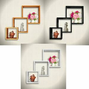 Set of 3 Cube Shape Floating Wall Shelves Storage Display ...