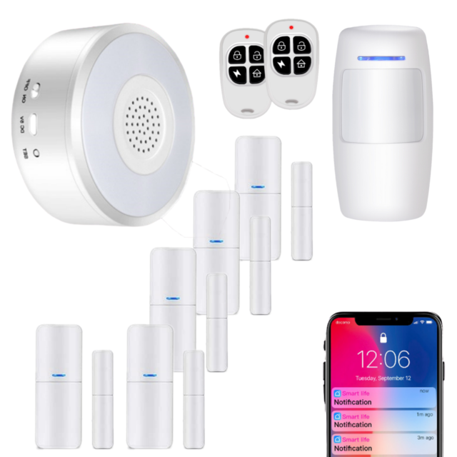 No Monthly Fee WiFi Security System WiFi Alarm System Kit Compatible with Alexa,APP Control and Message Alert Function,1 PIR Motion Sensor,1 Remote Control,4 Door Open Alarm and 1 Wi-Fi Gateway