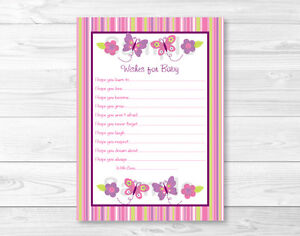 Baby girl pink butterfly printable baby shower wishes for for Wishes for baby printable template