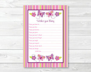 image is loading baby girl pink butterfly printable baby shower wishes