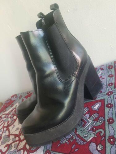 Miista Womens 38 / 7.5 Black Leather Platform Boot