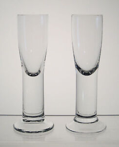 LEDNICKE-ROVNE-BOHEMIA-Vodka-Schnapps-or-Liqueur-Glasses-5-1-2-034-PAIR-Solid-Stem