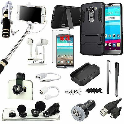 Kickstand Case+Fish Eye Lens+Selfie Stick Monopod+Charger Accessory For LG G4