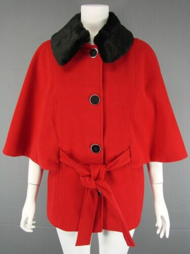 BRAND NEW DEBENHAMS COLLECTION RED FAUX FUR TRIM CAPE COAT SIZES 14-16 RRP £65
