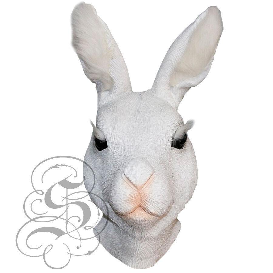 Rabbit /& White Fur Rubber Mask Fancy Dress Costume Outfit Prop
