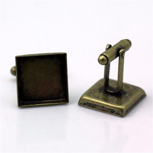 10pc//Lot 16 18 20 mm en blanco Vintage Cuadrado Gemelos Base Almohadilla Hágalo usted mismo Craft hallazgos