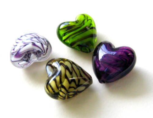 Lampwork Glasperlen Herzform 20x20mm 5 Stück SERAJOSY