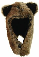 Unisex Wolf Faux Fur Hat Warm Winter Trapper With Ears Chin Strap Cold Animal