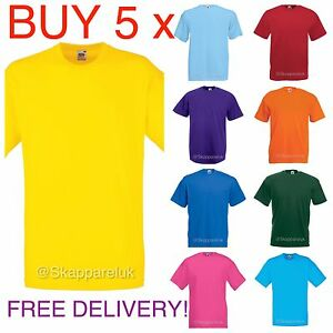 8d671f766 5 Pack Hombre Mujer Fruit of the Loom Liso 100% algodón camiseta