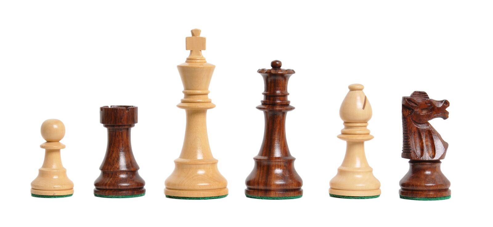 USCF Sales The Club Chess Set - Pieces Only - 3.75  King - oroen rosawood