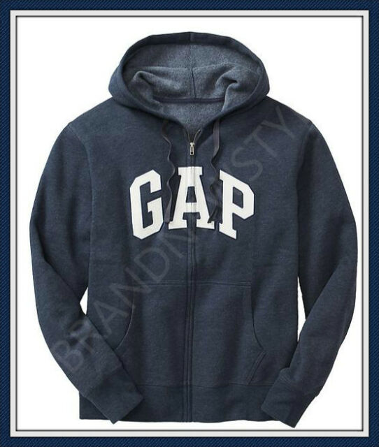 GAP ARCH LOGO Zip Hoodie Sweatshirts NAVY HEATHERJacket MENS NEW pick S M L XL