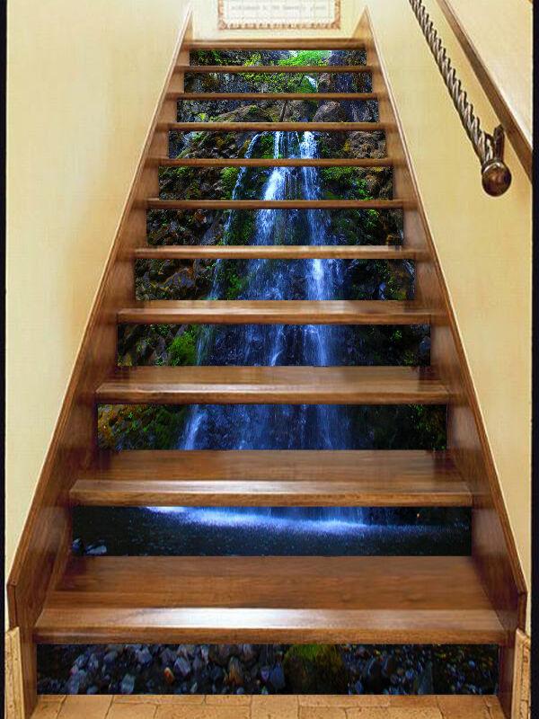 3D Wasserfall Nacht Stair Risers Dekoration Fototapete Vinyl Aufkleber Tapete DE