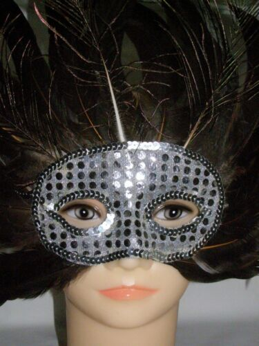 Silver Beautiful Peacock Feather Attractive Party Mask
