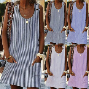 Plus-Size-Women-039-s-Cotton-Summer-Short-Sleeve-Long-T-Shirt-Ladies-Casual-Dress-US
