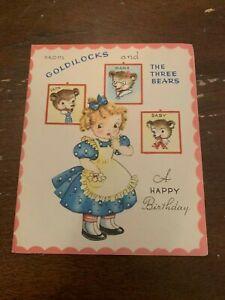 Vintage-1950-039-s-Birthday-Greeting-Card-Goldilocks-And-The-Three-Bears
