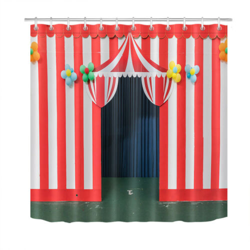 Red and White Stripes Circus Tent Entry Gate Shower Curtain Set Bathroom Decor