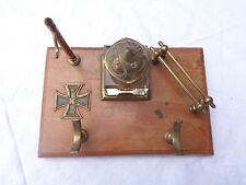 Alte Schreibtischgarnitur mit Eisernen Kreuz Uhrenständer...