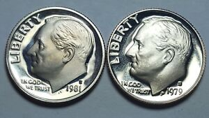 Details about 1981-S T1 Clear 'S' 1979-S T1 Filled 'S' Roosevelt Dime Proof  DCAM BU