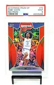 2019-Prizm-RED-REFRACTOR-Bulls-RC-Star-COBY-WHITE-Rookie-Basketball-Card-PSA-9