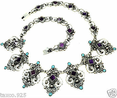 VINTAGE STYLE TAXCO MEXICAN STERLING SILVER AMETHYST TURQUOISE NECKLACE MEXICO