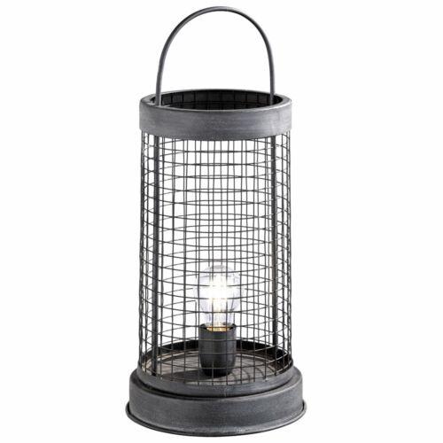 Käfig Beistell Tisch Lampe Nacht-Licht Deko Vintage Wohn Zimmer Beleuchtung grau