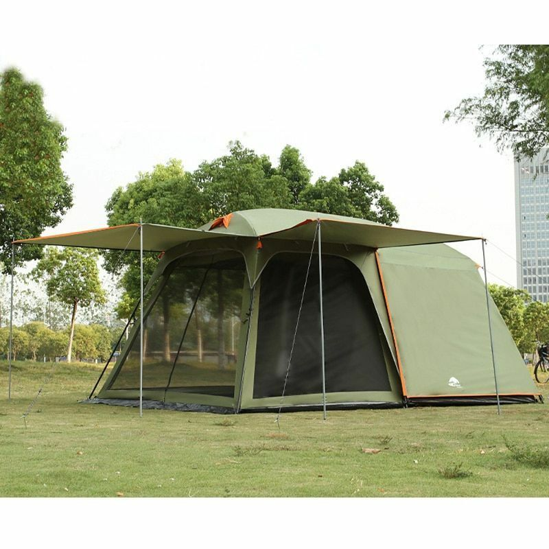 Camping Family Tent One Hall One Bedroom Iron Double Layer Waterproof Windproof