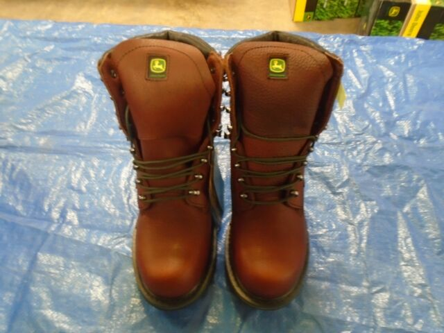 John Deere Mens Dark Brown Leather 8in Waterproof Lace up Work BOOTS 8.5