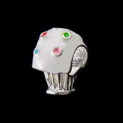 White Enamel Flowers Silver Plated Large 5mm Hole European Charm Beads 2pc