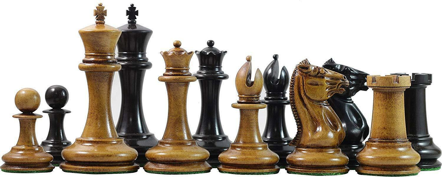 """Vintage 1849-50 Reproduction Distressed Antiqued Morphy Cooke 3.5"""" Ebony Chess"""
