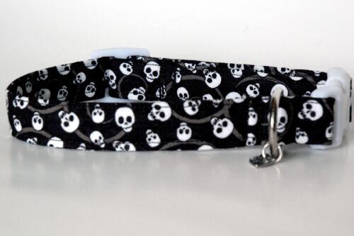 Med /& Lg Handmade Halloween Skull Print Dog Collar Sm