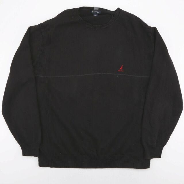 Vintage Nautica schwarz bestickt Strick Pulli Pullover Größe Herren XXL